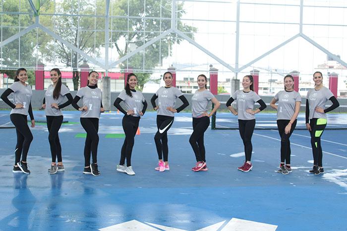 Las nueve representantes del certamen Miss Michoacán realizaron todo tipo de prueba deportiva para ganar